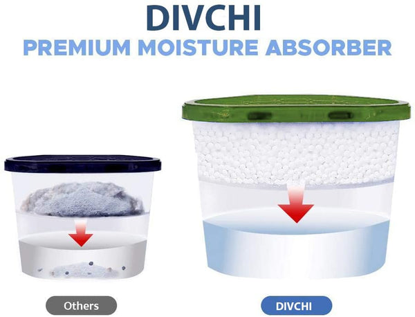 DIVCHI Pack of 12x 500ml Interior Dehumidifiers - for Stop Damp, Mildew, Mould Condensation Moisture Absorber Remover in Home Kitchen Wardrobe Bedroom Caravan Office Garage Bathroom, Basement