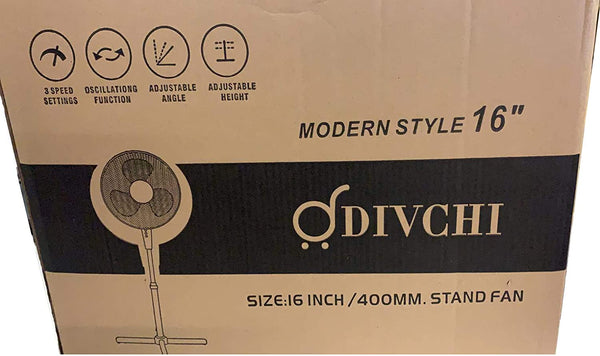 DIVCHI 16-Inch Oscillating Pedestal AIR Cooling Electric Fan EXTENDABLE Adjustable Stand, Stay Cool 3 Speed (Pack of 1)