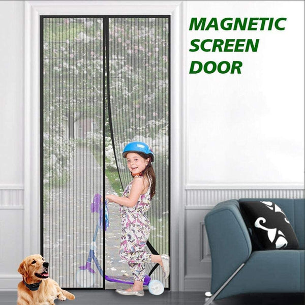 DIVCHI Magnetic Door Curtain Automatic Closing Fly Insect Bug Screen Net Mesh (100x220 cm, Black)