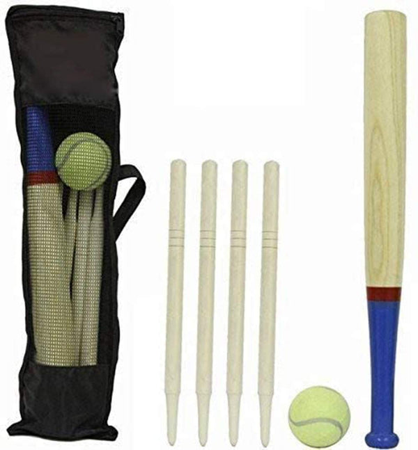 DIVCHI 6 Piece Wooden Rounders Set & Carry Bag - Baseball Bat & Soft Tennis Ball Garden Fun Play Set