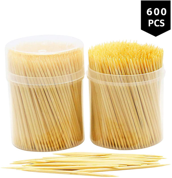 DIVCHI 600 Pcs Bamboo Cocktail Sticks | 4 x 150 Pack Bamboo Toothpicks | Tooth Picks for Home and Commercial Use by Keep It Handy