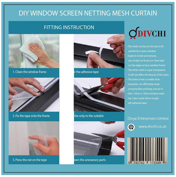 DIVCHI 2 Packs Window Insect Screen Net Mesh Kit 130X150cm (Approach 51x59 Inches) White - Divchi