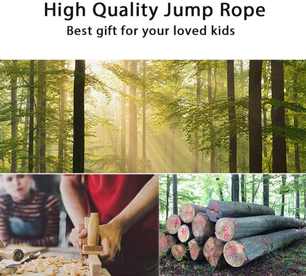 DIVCHI Wooden Handled Skipping Rope 180cm - Jump Play Sport Exercise Workout Toy