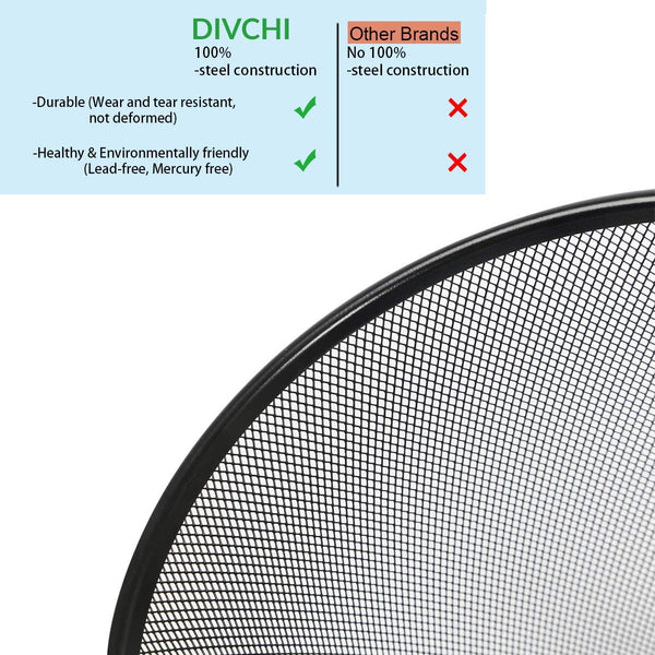 DIVCHI Circular Mesh Wastebasket Trash Can, Waste Basket Garbage Can Bin for Bathrooms, Kitchens, Home Offices, Dorm Rooms(BLACK)