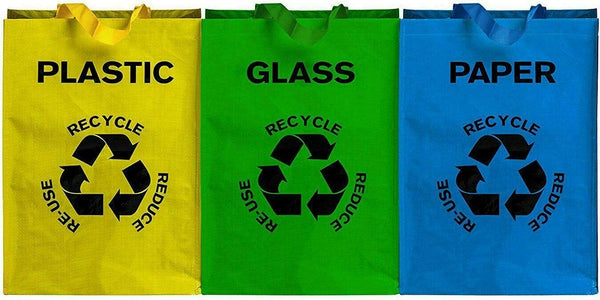 DIVCHI Set of 3 Large Multicoloured Heavy Duty Reusable Recycle Bags 53L with Handles and Secure Attachments - Separate Your Household Waste and Recycling Bags for Glass Paper and Plastic