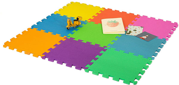 DIVCHI Foam Play Mat - Non-Toxic Extra Thick 9 Piece Children Play & Exercise Mat - Comfortable Cushiony Foam Floor Puzzle Mat, 6 Vibrant Colors for Kids & Toddlers - Divchi