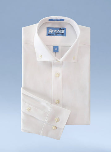 Boys Classic Fit Non Iron 100% Cotton Pinpoint Dress Shirt with Button Down Collar