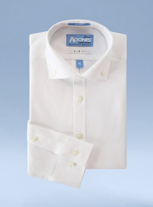 Boys Slim Fit Non Iron 100% Cotton Pinpoint Dress Shirt with Button Down Collar