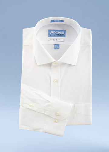 Mens Slim Fit Non Iron 100% Cotton Pinpoint Dress Shirt