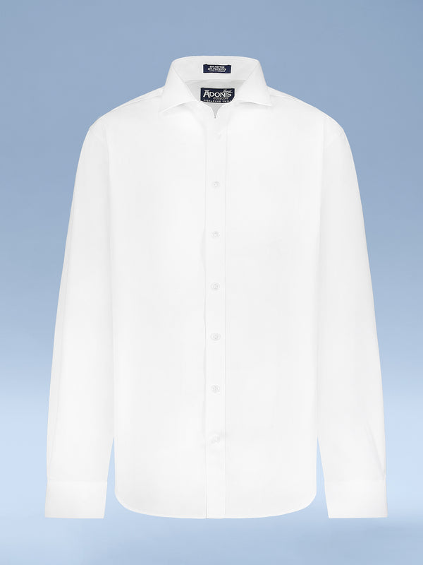 "Boys Cotton Blend Easy Care White-on-White ""Sleek"" French Cuff Dress Shirt"