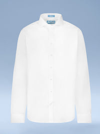Boys 100% Cotton Non Iron White-on-White 'Cruise' Button Cuff Slim Fit Dress Shirt