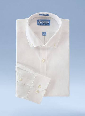 Mens Classic Fit Non Iron 100% Cotton Pinpoint Dress Shirt with Button Down Collar