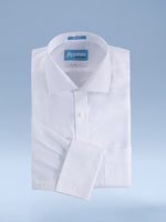 "Mens 100% Cotton Non Iron White-on-White ""Grand Royal"" French Cuff Slim Fit Dress Shirt"