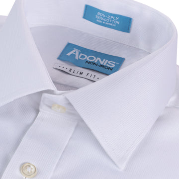 "Mens 100% Cotton Non Iron White-on-White ""Dashing"" Button Cuff Slim Fit Dress Shirt"