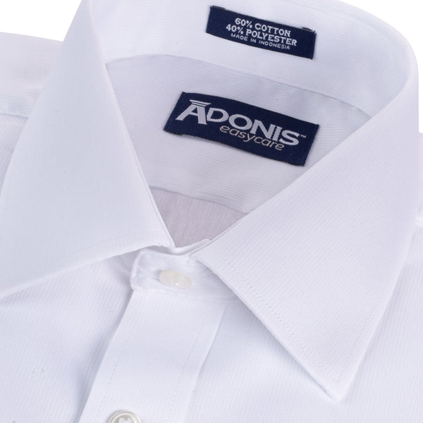 "Mens Cotton Blend Easy Care White-on-White ""Chic"" Short Sleeve Dress Shirt"