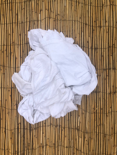 WHITE KNIT T-SHIRT RAGS (25LB BOX)