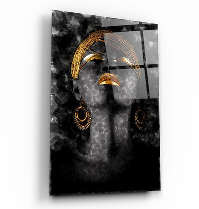 "・""Golden Lips Woman Portrait""・Glass Wall Art RCGP Artdesigna"