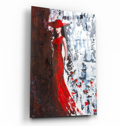 "・""Lady in Red""・Glass Wall Art ArtDesigna Glass Printing Wall Art"