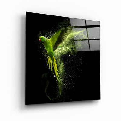 "・""Green Parrot""・Glass Wall Art ArtDesigna Glass Printing Wall Art"