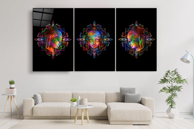 "・""Lord Buddha - Trio""・Glass Wall Art RCGP Artdesigna"