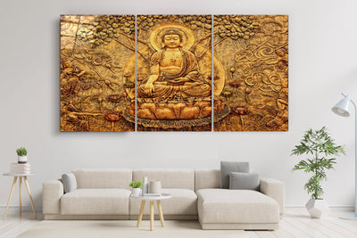 "・""Buddha - Trio""・Glass Wall Art RCGP Artdesigna"