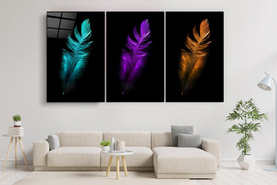 "・""Feathers - Trio""・Glass Wall Art RCGP Artdesigna"