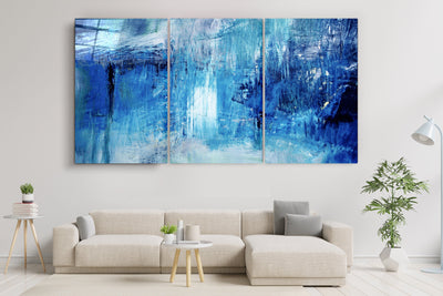 "・""Blue Fall- Trio""・Glass Wall Art RCGP Artdesigna"