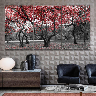 "・""Red Tree - Trio""・Glass Wall Art RCGP Artdesigna"