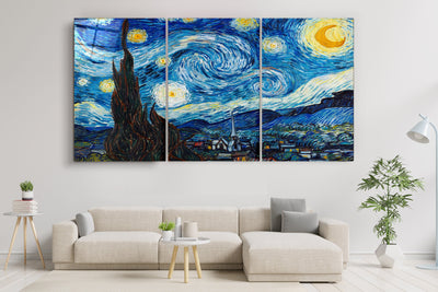 "・""Van Gogh Stary at Night - Trio""・Glass Wall Art RCGP Artdesigna"