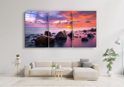 "・""Stones and Sunset - Trio""・Glass Wall Art RCGP Artdesigna"