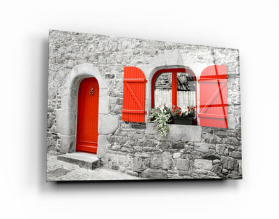 "・""Red Door""・Glass Wall Art RCGP Artdesigna"