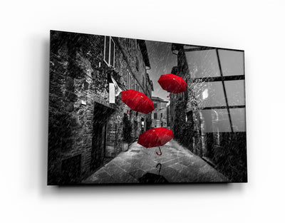 "・""Red Umbrellas""・Glass Wall Art RCGP Artdesigna"
