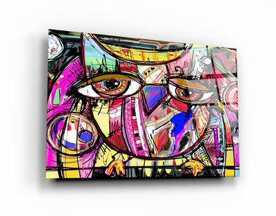 "・""Owl Abstract""・Glass Wall Art RCGP Artdesigna"