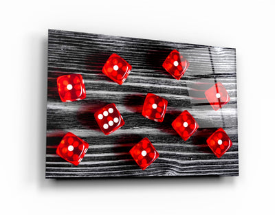 "・""Red Dice""・Glass Wall Art ArtDesigna Glass Printing Wall Art"