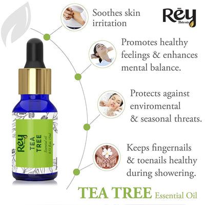 Rey Naturals Rosemary oil, tea tree oil & lavender essential oils - Pure 100% Natural for Healthy Skin, Face, and Hair (15 ml + 15 ml + 15 ml)