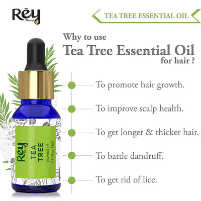 Rey Naturals tea tree oil & lavender essential oils - Pure 100% Natural for Healthy Skin, Face, and Hair (15 ml + 15 ml)
