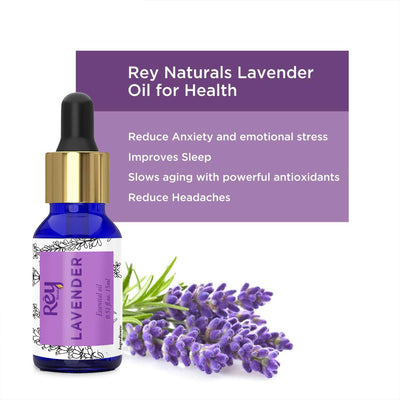 Rey Naturals Lavender Essential Oil - Pure 100% Natural - Healthier Skin and Hair - Calming Bath or Massage for Restful Sleep - Diffuser-Ready for Aromatherapy - 45 ml (15 ml x 3) super saver combo