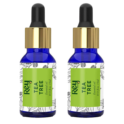 Rey Naturals Tea Tree Essential Oil for Aromatherapy - Tea Tree Essential Oil for Healthy Skin, Face, and Hair - 100% Organic Remedy for Dandruff, Acne - 30 ml (15 ml x 2) super saver combo