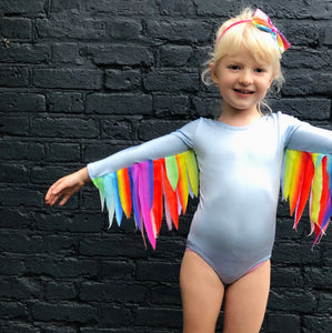 Sky Blue Leotard  / Rainbow Wings