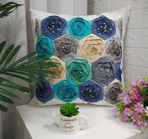 Blue Handmade Flower Pillow