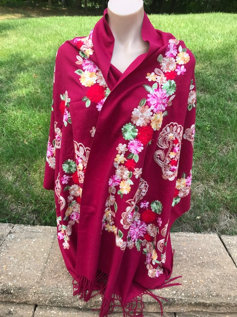 Fuschia Cashmere Embroidered Scarf