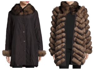 Brown Reversible Fur Coat
