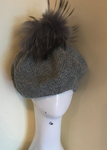 Grey Fur Pompom Hat