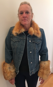 Red Fox Fur Jeans Jacket
