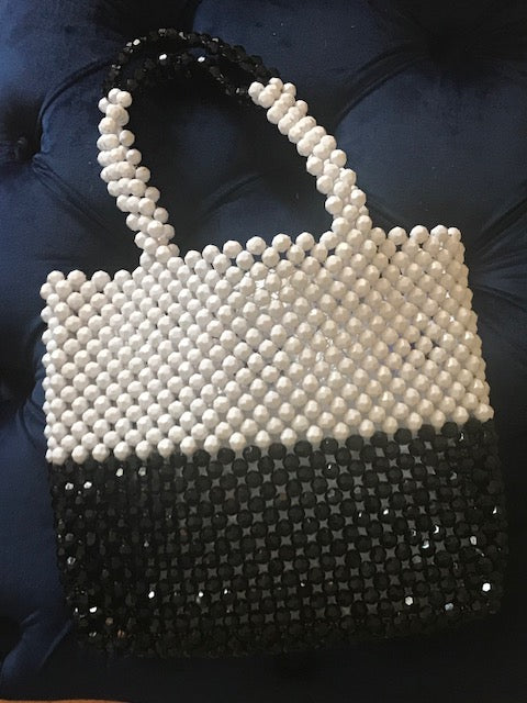 Black and White Beaded Bag