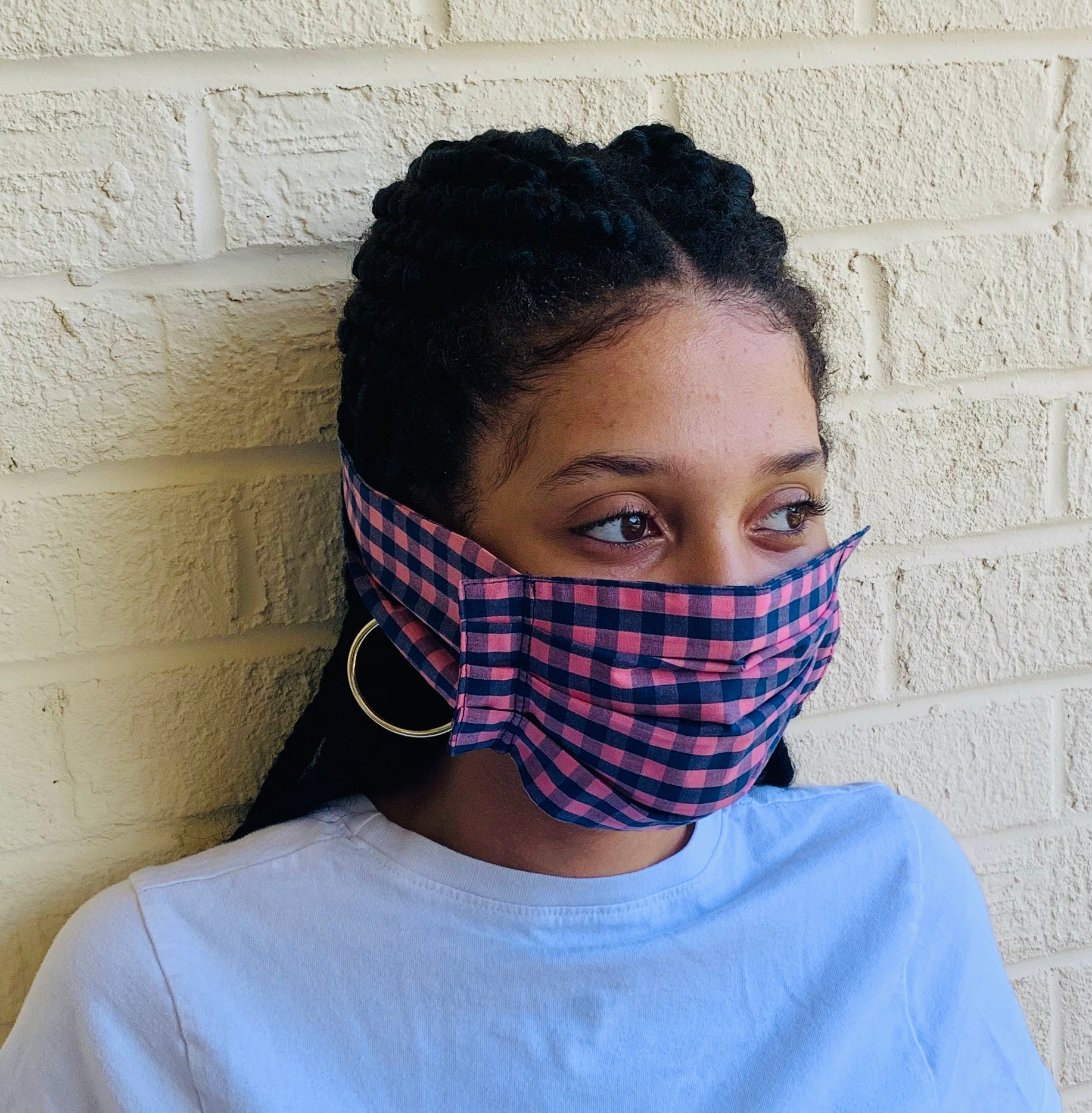 Pink and Blue Checkered Mask