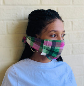 Pink and Green Checkered Mask