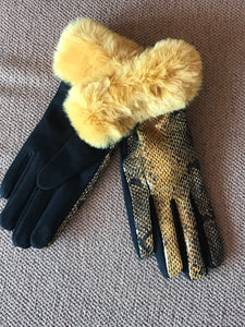 Yellow Faux Snake Skin Gloves