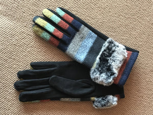Multi-colored Faux Fur Gloves