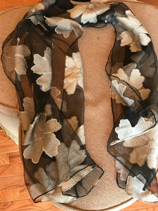 Black and Beige Flower Scarf